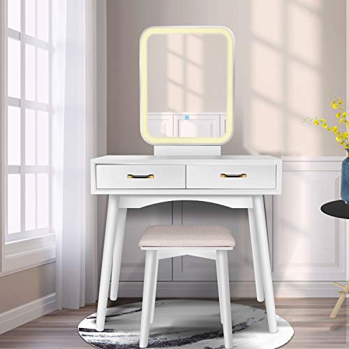Vanity Table Set with Lighted LED Touch Screen Dimming Mirror,Makeup Dressing Table -