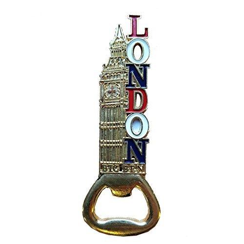 Décapsuleur magnétique Big Ben en métal – Couleur dorée/souvenir de Londres/britannique/rouge blanc et bleu/mots et icônes