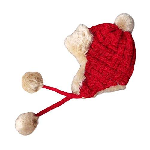 Blancho Bedding Sombreros de Gorrita Tejida Sombrero Grueso del Invierno Sombrero Caliente del oído Sombreros Suaves Sombrero del esquí