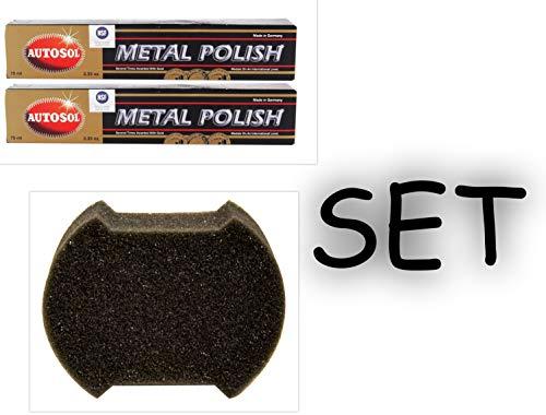 Preisvergleich Produktbild Autosol 2X Metal Polish Edel Chromglanz Metall Politur Chrompolitur 75 ml +KOCH Chemie Applikator-Schwamm für Kunststoffinnenpflege 10x8x3cm 1 STK