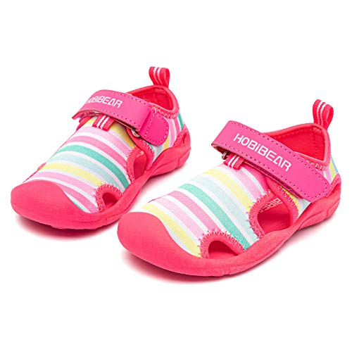 HOBIBEAR Toddler Boys Girls Water Shoes Quick Dry Closed-Toe Aquatic Sport Sandals (Rainbow,9 Toddler)