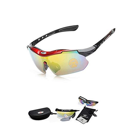 Gafas de Sol Deportivas Polarizadas para Unisex con 5 Lentes Intercambiables UV400 Protección Antivaho Antireflejo Anti Viento,para Montar Se Adapta al Esquí Correr Ciclismo,Deportes al Aire Libre