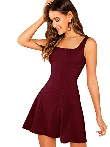 DIDK Damen Ärmellos Kleider Camisole Minikleider Einfarbig A Linie Sommerkleid Elegant Casual Freizeitkleid Strandkleid Ballonkleid Bordeaux S