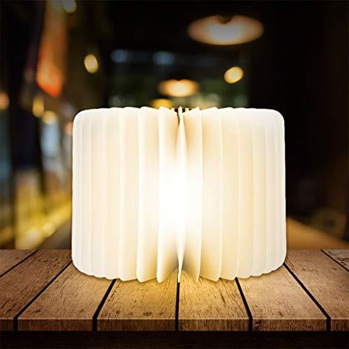 Lámpara de Libro Lámpara de Mesa Plegables de Madera Portatil de Libro Luces Recargable para Dormir Leer Decorar Regalo (Color : White, Size : S)