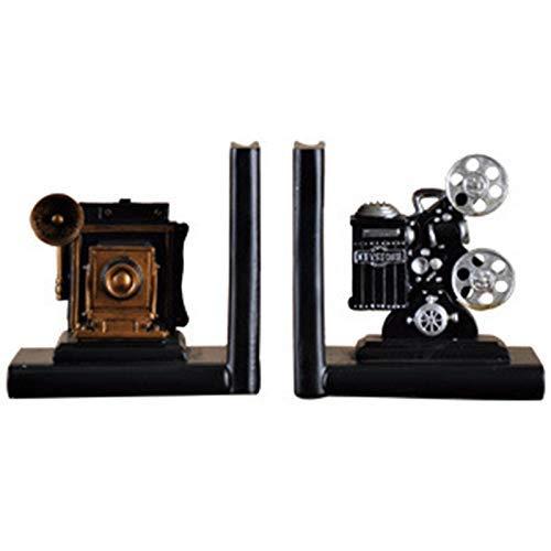 Jewelry レトロカメラのブックエンドの映画フィルムプロジェクターブラックシルバーコレクタープロジェクト本棚ヴィンテージジュエリー研究室研究家の装飾