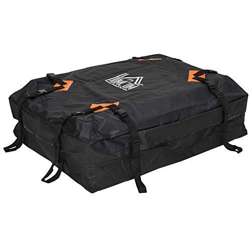 Homcom Sac de Toit Voiture pour Voyage Coffre de Toit Voiture Souple 425L Polyester PVC Indice étanchéité 5000+ Noir Orange