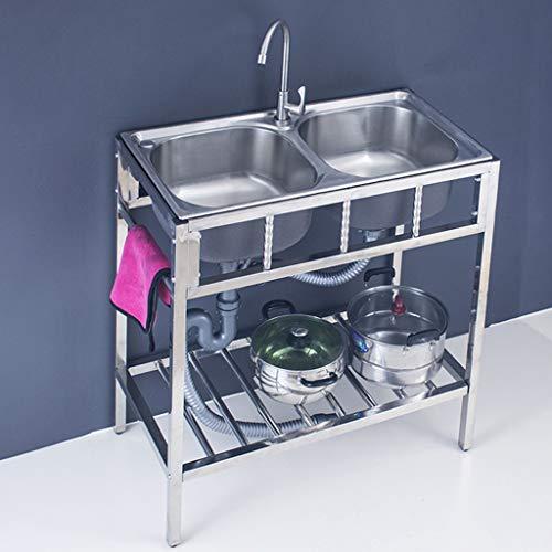 Karnih Fregadero de Cocina de Acero Inoxidable Simple/Doble Fregadero Exterior móvil para Restaurante y Cocina, Fregadero Moderno