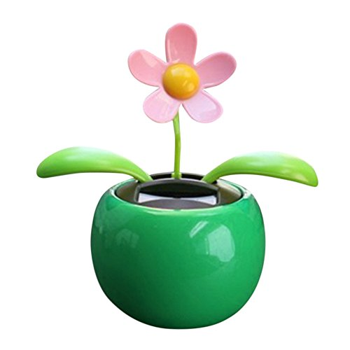 YINGYUE Cute Solar Powered Dancing Swinging Animated Flower Toy Car Ornament Home Office Desk Decor Gift Green