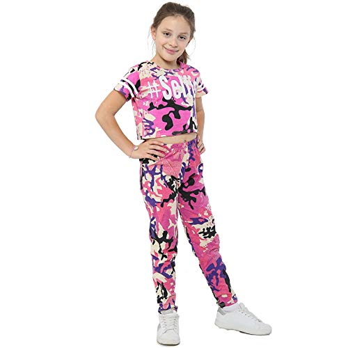 A2Z 4 Kids A2Z 4 Kids® Girls Top Kids Designer #Selfie Camouflage - Camo Selfie Crop Legg_Baby Pink 7-8