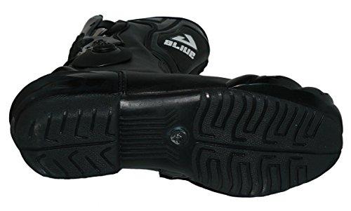 Protectwear TS-006-43 Motorradstiefel Racing aliue, Wasserabweisend aus schwarzem Leder mit aufgesetzten Hartschalenprotektoren, Größe 43, Schwarz - 8