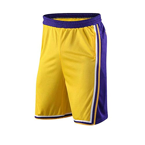 TOY-R NBA Basketball Hosen Lakers Kobe James Casual Sports Shorts Schnelltrocknende Outdoor-Trainingshose Yellow-XXXXL