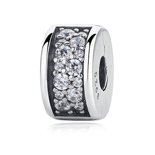 NINGAN Clips Charm 925 Sterling Silber Heart Anhänger Bead für Pandora-Armbänder, kompatibel mit europäischen Armband und Halskette (Shining Eleganz Silikon Grip Clip)