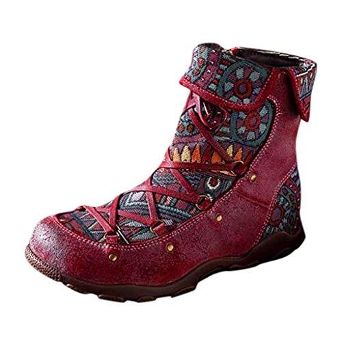 Alwayswin Damen Vintage Bedruckte Lederstiefel Bohemian Style Kurze Stiefel Reißverschluss Booties Freizeitschuhe Bequeme rutschfeste Stiefeletten Winterstiefel Flache Biker Boots