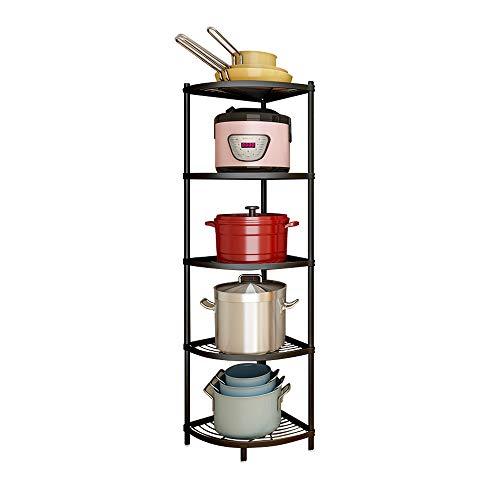 Kitchen Corner Shelf Rack, Multi-Layer Pot Rack Storage Organizer Stainless Steel Shelves Shelf Holder (5 Tier)