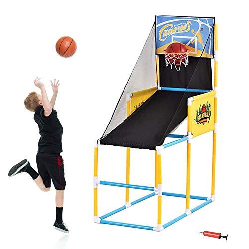 FXQIN Juego De Aro De Baloncesto con Marcador Electrónico, 2 Balones Pequeños y Bomba de Aire Canasta de Baloncesto Plegable para Niño Juego Tiro Baloncesto