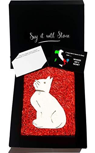 Chat avec pendentif en pierre fait à la main en Italie - Symbole de patience, esprit d'aventure, curiosité et indépendance - Coffret cadeau et carte de message vierge inclus - Saint Valentin Cat