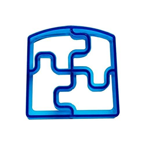joyliveCY Sandwich Brot Keks-Ausstecher, Plastik, blau, Puzzle