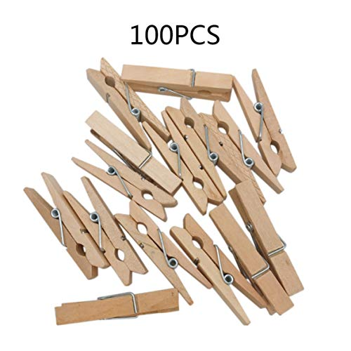 Rouku Naturholzklammern Holzfarbklammern Fotoclips DIY-Zubehör Quadratische Tafel Kleine Holzklemme täglich