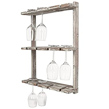 MyGift Distressed Barnwood Brown Wall Mounted 12 Wine Glass Holder Rack, Inverted Stemware Display