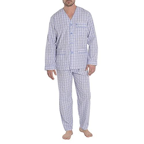 El Búho Nocturno - Pijama Hombre Largo Judo Popelín Cuadros Celeste 60% algodón 40% poliéster Talla 6 (XXL)