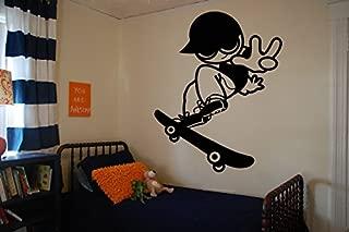 Wall Vinyl Sticker Decals Mural Room Design Decor Pattern Skate Board Skating Boy Hat Hobby Sport Fun mi345