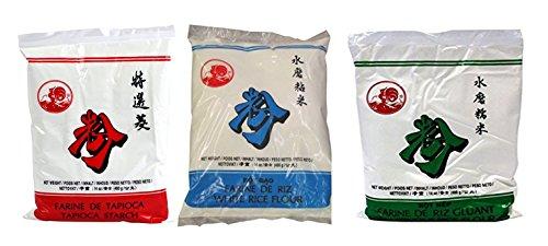 Lot de 3 farines différentes 400g/sachet : Farine de Tapioca/Farine de Riz Gluant/Farine de Riz