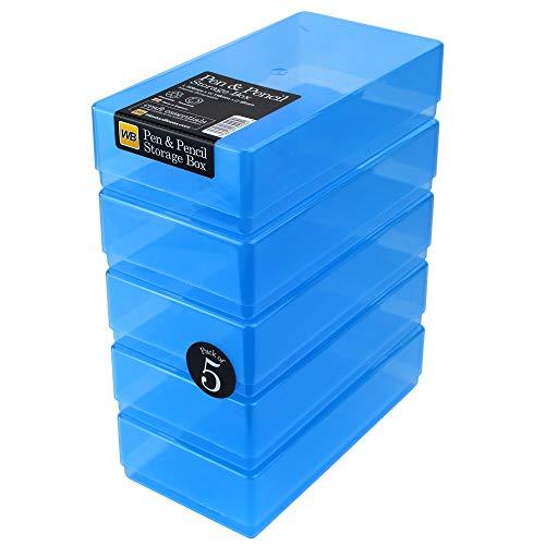 WestonBoxes - Plastic Pen en potlood opbergdoos voor kleine verfborstels en gereedschappen (Blauw, 5 Stuks)