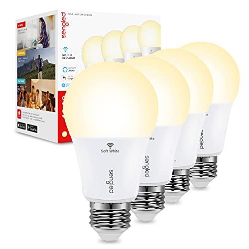 Sengled Smart Light Bulbs, Alexa Light Bulb No Hub Required, Smart Bulbs That Work with Alexa & Google Home, WiFi Light Bulbs A19 9W Soft White High CRI>90, CEC Title 20, 800LM 60W Equivalent, 4 Pack