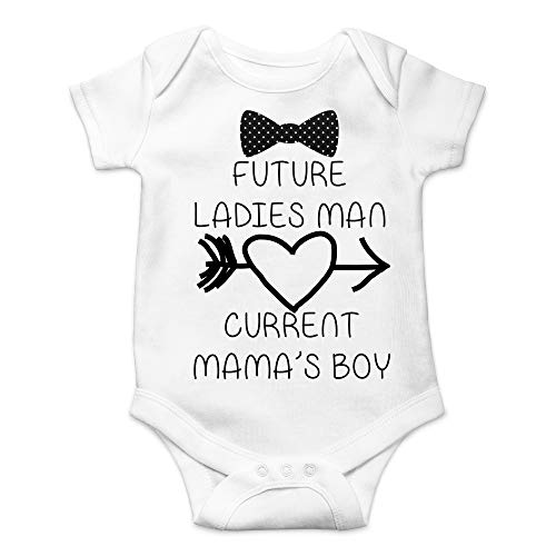 CBTwear Future Ladies Man Current Mama's Boy Funny Romper Cute Novelty Infant One-piece Baby Bodysuit (Newborn, White)