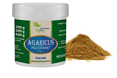 VITAIDEAL VEGAN® Agaricus Pilz Extrakt Pulver (Agaricus Blazei Murill, Mandelpilz) 300g inklusive Messlöffel rein natürlich ohne Zusatzstoffe.