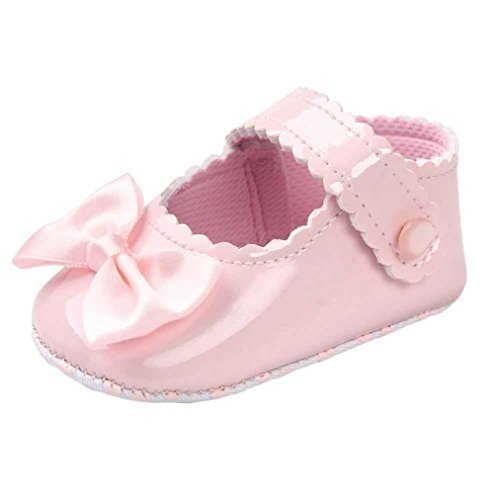 Turnschuhe Kleinkind Schuhe Babyschuhe Mädchen Tanzschuhe Ballerinas Leder T-Strap Schuhe Lauflernschuhe Mädchen Krabbelschuhe Streifen-beiläufige Wanderschuhe LMMVP (Rosa, 11 (0~6 Monate))