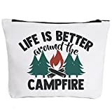 Camper Accessories for Travel Trailers-Life Is Better Around The Campfire-Campfire Makeup Bag Gifts for Camper Camp Retro Vintage Camping Camper Decorations for Inside Graduation Gifts 2021