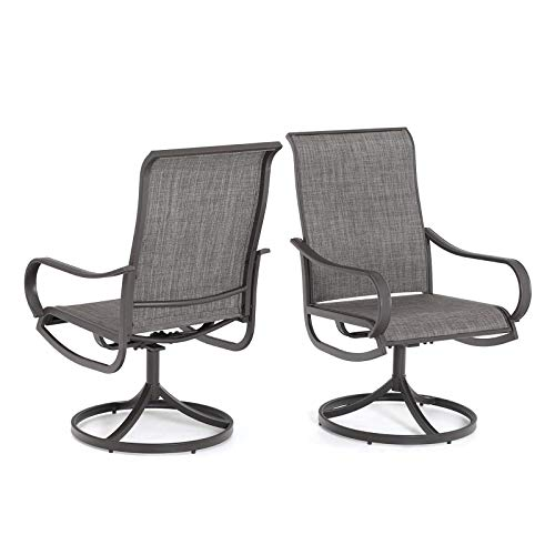 MFSTUDIO 2 Pieces Patio Sling Dining Swivel Chairs Outdoor Metal Dining Chairs with Textilene Mesh Fabric