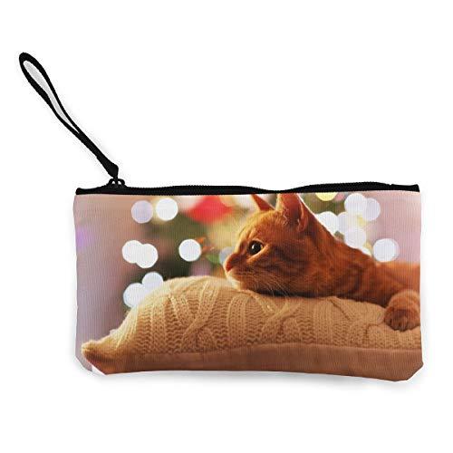 Geldbörse mit orangefarbener Katze auf dem Kissen aus Segeltuch für Münzen, Ausweise und andere Münzen