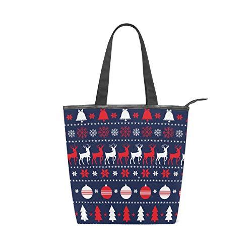 ISAOA Bolsa de compras de lona grande, diseño de reno de Navidad,...