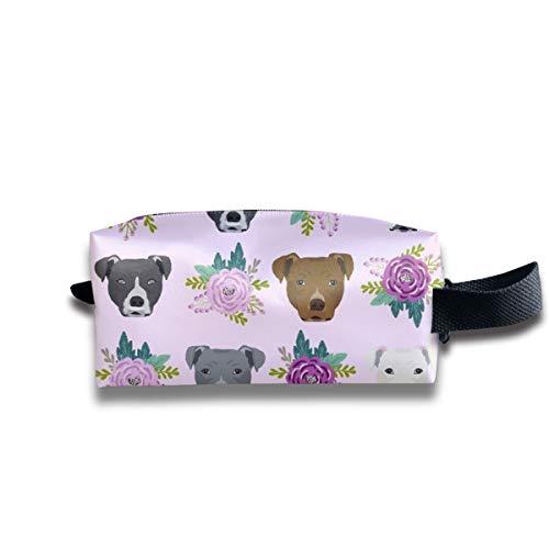 Pitbull Floral Head Design Pitbulls Tessuto Floral Dog Head_244 Trucco portatile da viaggio Cosmetici Borse Organizer Multifunzione Borse per unisex