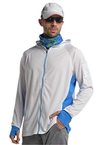 Venxic Men's Long Sleeve Performance Fishing Shirts, Quick Dry, UPF50+ UV Protection, Contrast White (L)