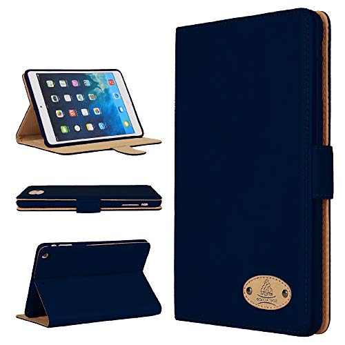 Gorilla Tech Apple iPad Air Genuine Luxury Executive Leather Case Smart Protective Designer Cover with Stand for Model A1474 A1475 A1476 Protect with Style Series Navy Leather Retail Packing