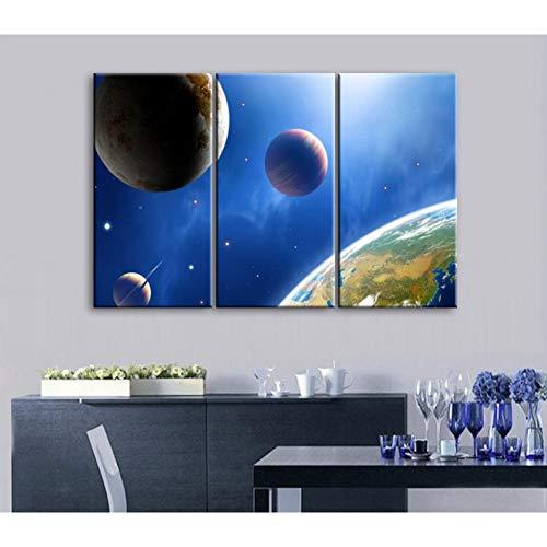 RHBNVR canvas schilderij 3 stuks Moderne gedrukt HD Space Universe canvas foto cuadros aarde schilderij linnen wand voor woonkamer decoratie (zonder lijst)