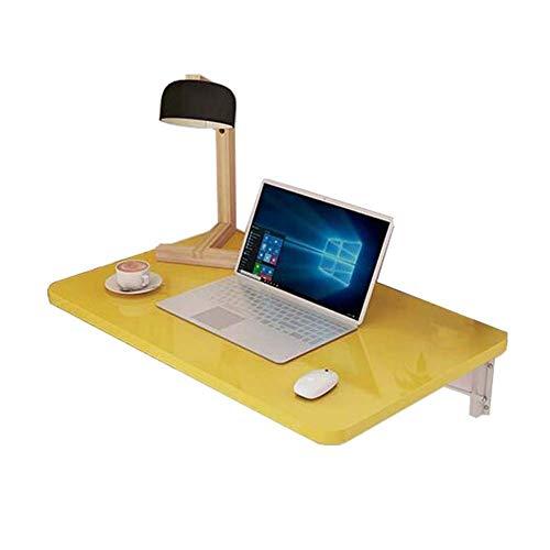 Mesa plegable para montar en la pared, mesa de comedor plegable para ordenador, ahorra espacio, de madera maciza, color amarillo