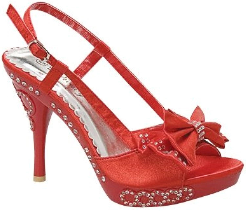 FL By KSC Evening High Heel Rhinestone Party Dress Slingback Peep Toe Sandals Red, 5-10