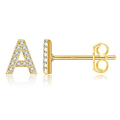 Letter A Earrings, 14K Gold Plated Initial Earrings for Teens Girls, Pave Cubic Zirconia Letter Earrings Monogram Pierced Earrings for Toddlers Kids Fashion Initial Alphabet Letter Stud Earrings