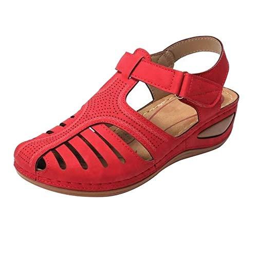 Nuevo 2021 Sandalias Mujer Cuña, Verano Moda tallas grandes Plataforma Punta Cerradas transpirables Zapatos De Tacón Alto Alpargatas De Playa Fiesta casual Tacones Altos Sandalias