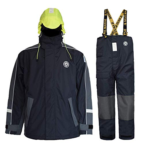 Navis Marine Sailing Jacket with Bib Pants for Men Women Waterproof Breathable Rain Suit Fishing Foul Weather Gear(Charcoal, Medium)