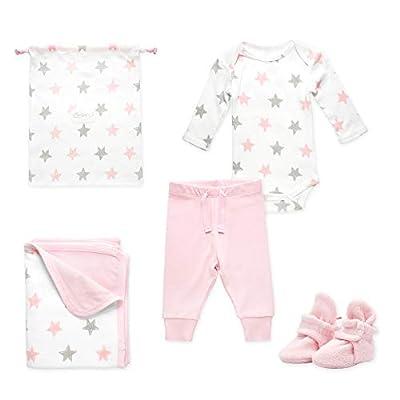 Zutano Baby Booties Gift Set, Stars 4pc, Baby Pink, 6M