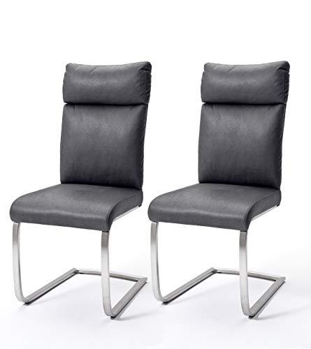 Robas Lund Esszimmerstühle 2er Set Grau, Schwingstuhl Esszimmerstuhl max. 130 Kg Belastbar, Stuhl Rabea