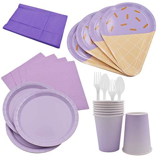 61PCS Platos para Fiestas de Helados Vajilla Desechable Ecológica Platos de Papel Biodegradables Tenedores Manteles Toalla de Papel Cucharas Combo para Fiesta Camping Picnic- Gradiente Color Púrpura