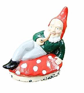GARDEN GNOME LYING TOADSTOOL STUMP