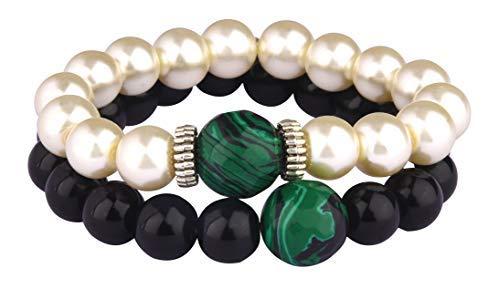 SataanReaper Presents Negro Onyx Perla Y Verde De Malaquita para El Crecimiento, La Suerte Y La Abundancia - Chupa Energías Negativas - Pulsera De La Energía Espiritual #SR-447