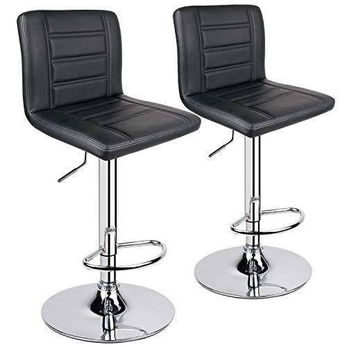 Leopard Bar Stools Set of 2, Modern Adjustable Bar Stool with Back, Swivel Barstool - Black